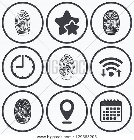 Clock, wifi and stars icons. Fingerprint icons. Identification or authentication symbols. Biometric human dabs signs. Calendar symbol.