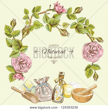 Rose natural cosmetic round frame. Design for cosmetics, make up, store, beauty salon, natural and organic products. Vector illustration