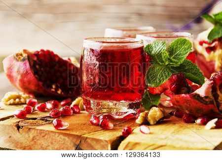 Fresh Pomegranates And Juice, Selective Focus