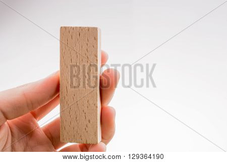 Wooden brown domino in hand on white