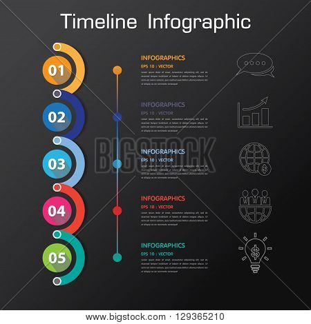 Long Shadow Design Clean Number Timeline Template/graphic Or Website.vector/eps10.