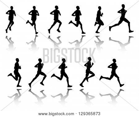 marathon runner, 11 steps silhouettes - vector