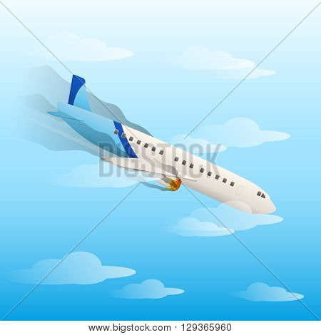 Plane crash, planes vector flat style. Flying planes. Falling aircraft. Airplane.