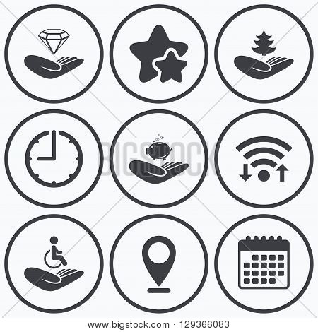 Clock, wifi and stars icons. Helping hands icons. Protection and insurance symbols. Financial money savings, save forest. Diamond brilliant sign. Disabled human. Calendar symbol.