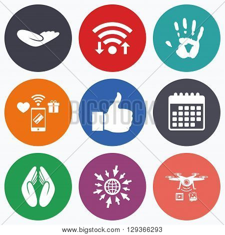 Wifi, mobile payments and drones icons. Hand icons. Like thumb up symbol. Insurance protection sign. Human helping donation hand. Prayer hands. Calendar symbol.