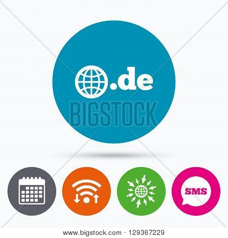 Wifi, Sms and calendar icons. Domain DE sign icon. Top-level internet domain symbol with globe. Go to web globe.