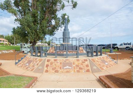 KALBARRI,WA,AUSTRALIA-APRIL 18,2016: Kalbarri War Memorial commemorative monument on the Murchison River foreshore in Kalbarri, Western Australia.