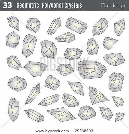 Geometric polygonal crystals in flat style isolated on white background. Geometric shapes. Trendy hipster retro backgrounds and logotypes. Crystal icons art. Crystal icons app. Crystal icon ui.