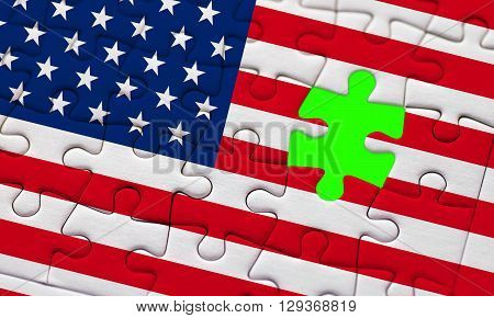 Usa Vote Election For 2016 United States Of America Flag On Puzzle With Puzzle Piece With Chroma Gre