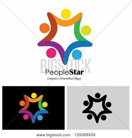 happy kids vector logo icon in eps 10 format