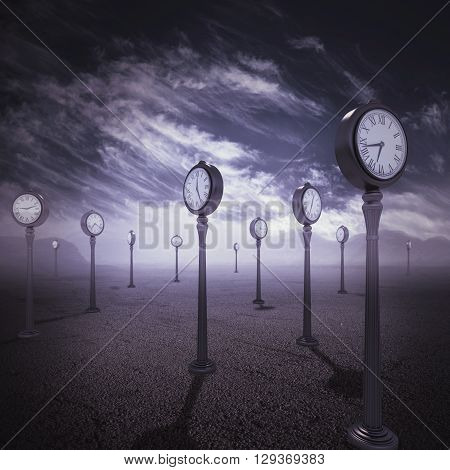 Isolated place with antique watches as trees 3d rendering