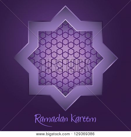Vector stock of islamic Ramadan Kareem with star shape ornaments on purple background