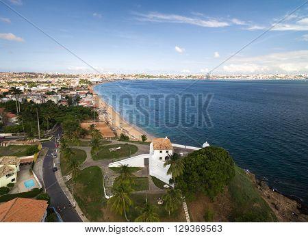 Aerial View of Forte de Monte Serrat Fort in Salvador, Bahia, Brazil