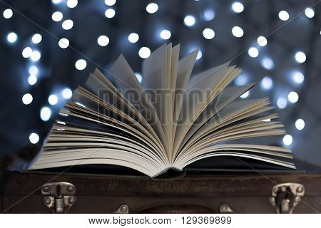 Open book with fairy lights and school port