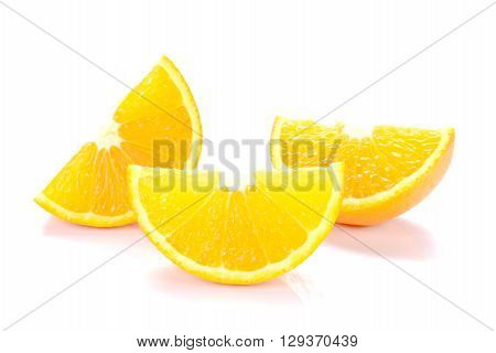 Fresh Orange cut pieces isolated on white background.