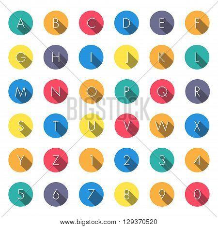 Flat icons alphabet on white background. vector illustration