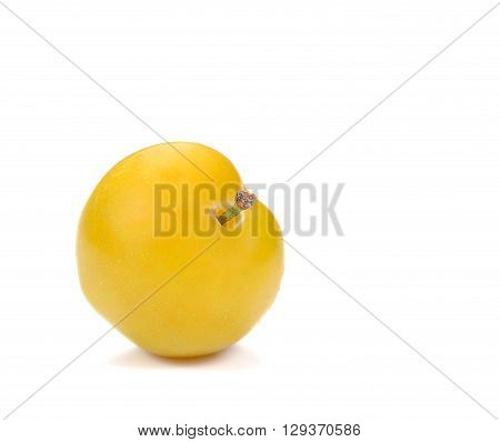 Yellow Ripe plum isolated on white background.