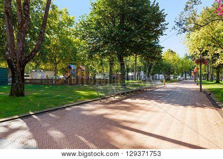 Vila Nova de Famalicao, Portugal.?? September 06, 2015: Park in Dona Maria II square in Vila Nova de Famalicao, Braga, Portugal.