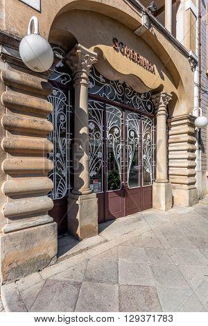 Castelo de Vide, Portugal - August 30, 2015: Iron door of the Boutique Sombrinha, a Art Nouveau building, in Castelo de Vide, Portalegre, Alto Alentejo, Portugal