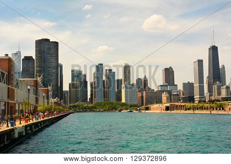 CHICAGO, ILLINOIS - AUGUST 22, 2015: Chicago skyline seen from Navy Pier. Chicago is known for its architecture.