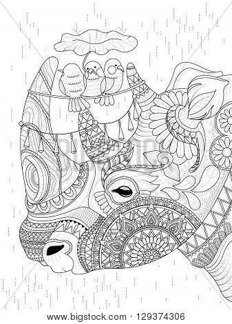 Rhino Adult Coloring Page