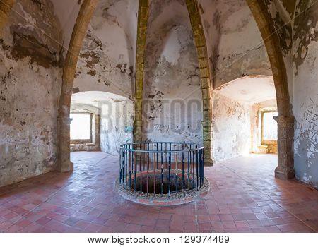 Castelo de Vide, Portugal - July 23, 2015: Interior of the Castelo de Vide Castle Watchtower. Castelo de Vide, Portalegre, Alto Alentejo, Portugal