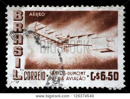 ZAGREB, CROATIA - SEPTEMBER 18: A stamp printed by Brazil shows The 50th Anniversary of the Dumont's First Heavier-than-air Flight, circa 1956, on September 18, 2014, Zagreb, Croatia