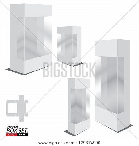 Packaging Box Design. White Packaging Box Design. Box set isolated on white background.
