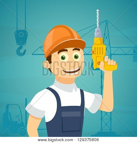 Construction worker with a drill tool in his hand. Stock vector illustration.