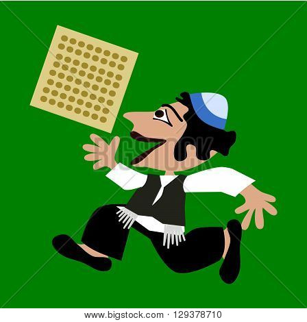 Little black-haired boy in blue yarmulke runs, holding a rectangular unleavened bread. Simple stylized flat illustration isolated on green background.