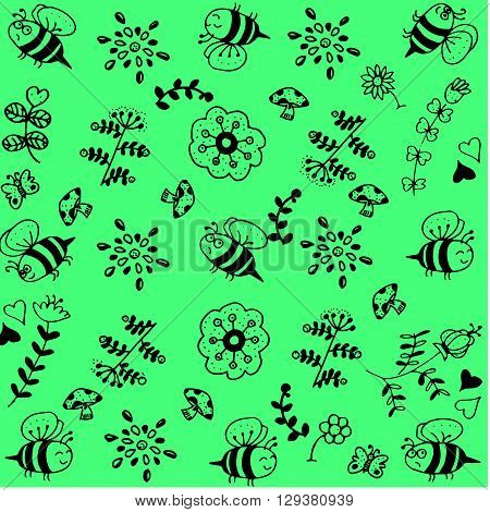 Flower and insect doodle art with green backgrounds