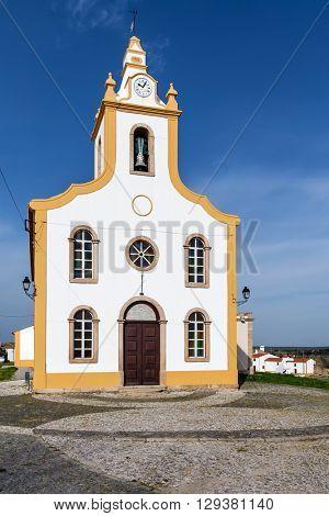 The parish church of Flor da Rosa where the knight Alvaro Goncalves Pereira was temporarily buried. Crato, Alto Alentejo, Portugal. poster