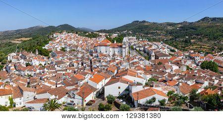 Panorama of Castelo de Vide rooftops seen from the Castle Tower. Castelo de Vide,  Alto Alentejo, Portugal.