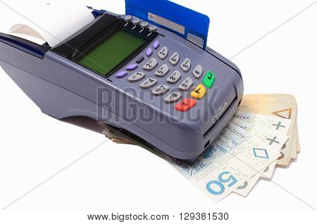 Payment terminal with credit card and money on white background credit card reader payment terminal with cash finance concept
