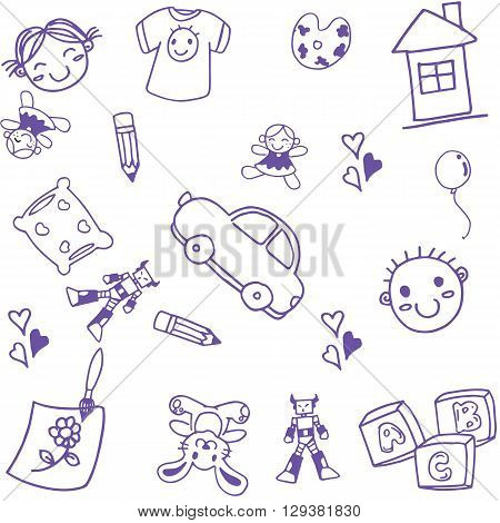 many kids toys doodle art with white backgrounds