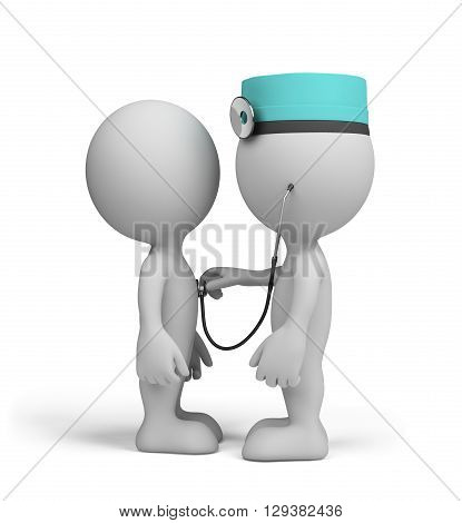 The doctor examines the patient. 3d image. White background.