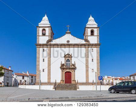 Facade of Santa Maria da Devesa church, the mother church of Castelo de Vide, Alto Alentejo, Portugal.