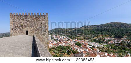 Castelo de Vide rooftops and Castle Watchtower. Castelo de Vide, Portalegre, Alto Alentejo, Portugal.