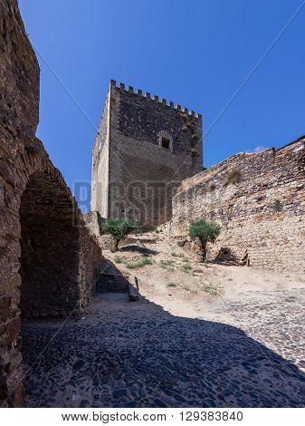 Watchtower of the medieval Castelo de Vide Castle. Castelo de Vide, Portalegre, Alto Alentejo, Portugal