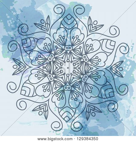 Vector card with mandala. Vector background. Card or invitation. Wedding invitation. Lace ornament round ornament. East style. Mandala watercolor background vector