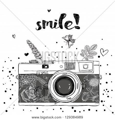 retro camera. Vector illustration. Photo camera with flowers. Camera with floral pattern.