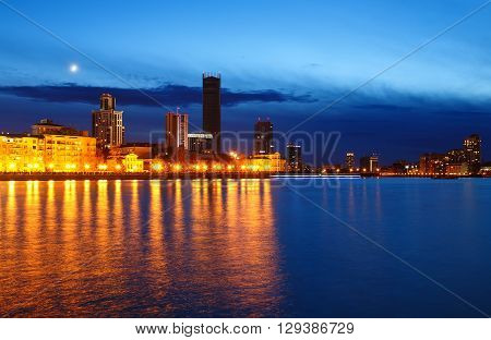 night over city center and a summer pond Yekaterinburg