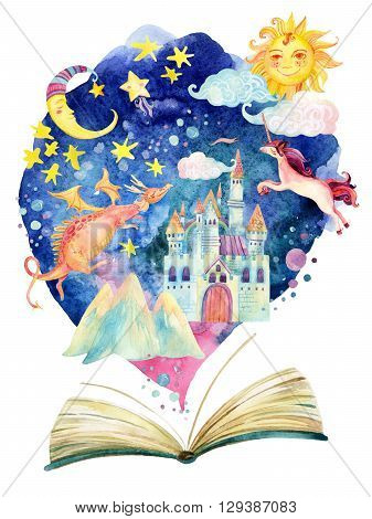 Watercolor open book with magic world on cloud. The whole fairy tale world in one book. Starry sky moon and sun magic castle flying dragon and unicorn. Hand painted book illustration for educational childish design