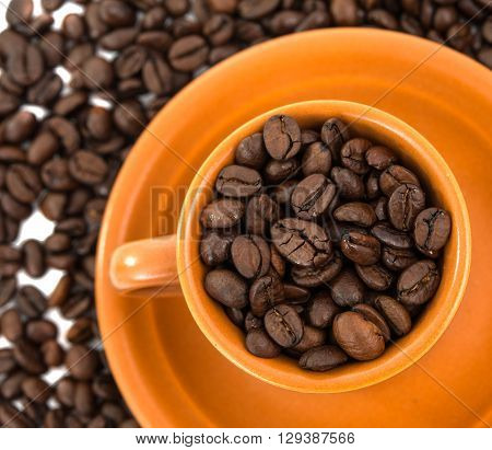 cup of coffee beans strong, texture, vigor, white