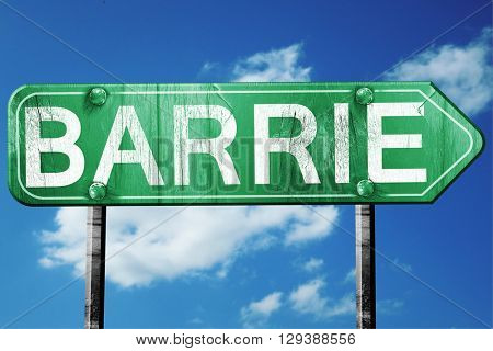 Barrie, 3D rendering, a vintage green direction sign