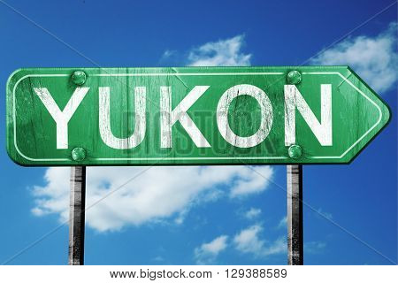 Yukon, 3D rendering, a vintage green direction sign