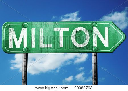 Milton, 3D rendering, a vintage green direction sign