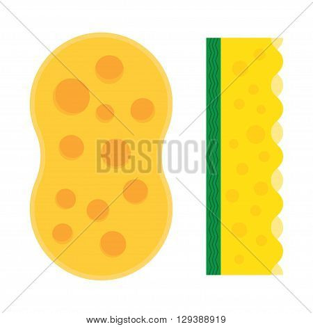 Bath sponge. Kitchenware scouring pads flat icon cartoon spong vector illustration sponge for ware washing.