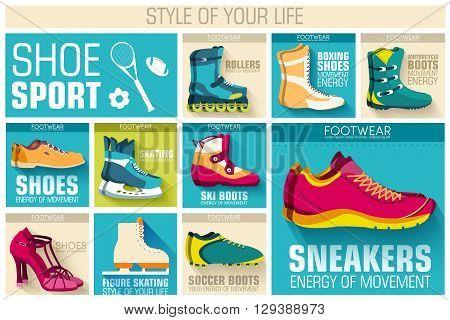 Big Illustration Collection Set Of Sport Shoe Equpment Backgroun