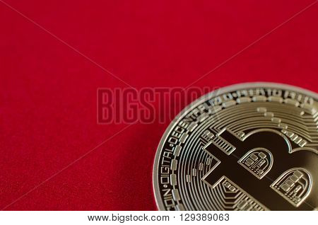 Golden Bitcoins (digital Virtual Money) On Red Background